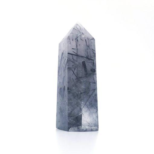Black Tourmaline in Quartz Obelisk Dark 70mm