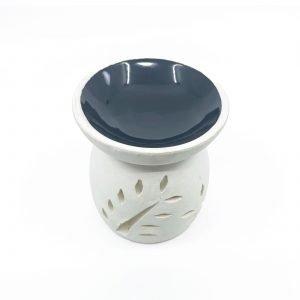 Ceramic OIL BURNER WHITE w BLACK BOWL