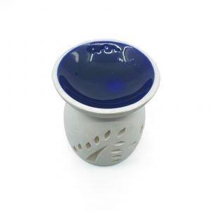 Ceramic OIL BURNER WHITE w BLUE BOWL