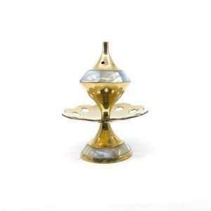 Incense Holder Brass LOTUS MOTHER OF PEARL 10cm