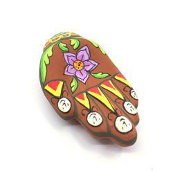 Incense Holder Clay Hand Painted Hand TERRACOTTA with Flower