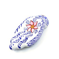 Incense Holder Clay Hand Painted Hand WHITE with Blue Leaves