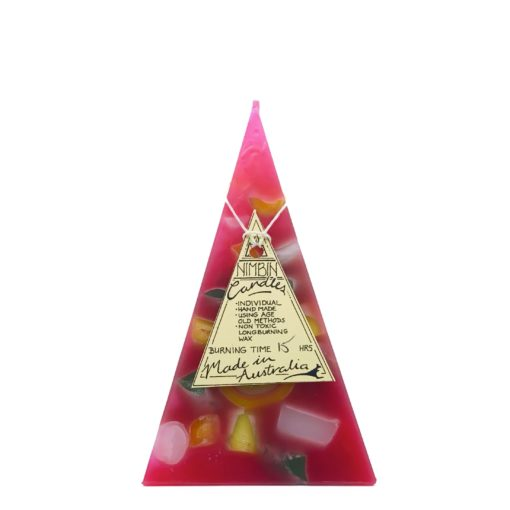 15hr Funky Pyramid Candle Hot Pink - Nimbin Candles