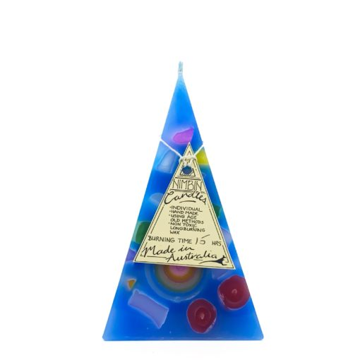 15hr Funky Pyramid Candle Light Blue - Nimbin Candles