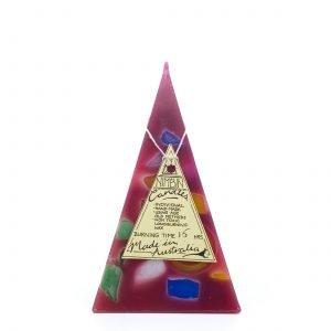 15hr Funky Pyramid Candle Maroon - Nimbin Candles