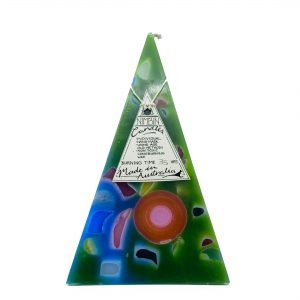 35hr Funky Pyramid Candle Green - Nimbin Candles