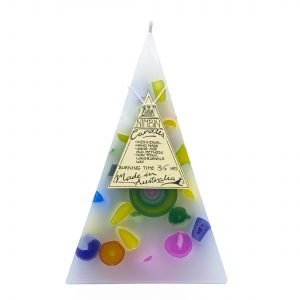 35hr Funky Pyramid Candle White - Nimbin Candles
