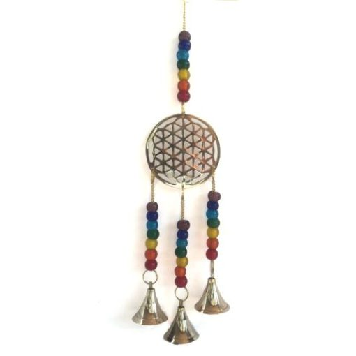 Chakra flower of life Brass Bells on Strings