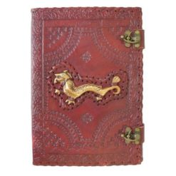 Large Leather Journal - Gold Dragon