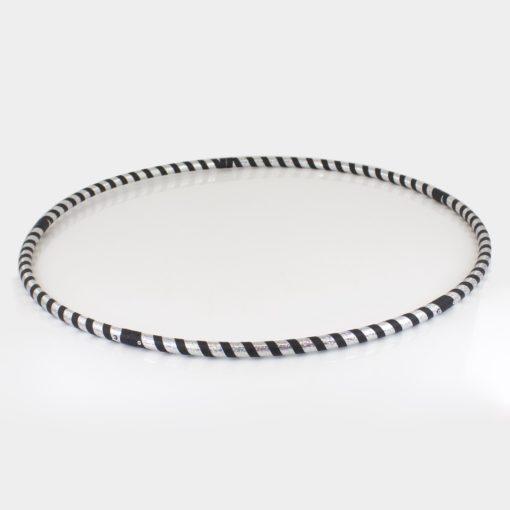 Collapsible Hula Hoop Travel Black Silver Stripe