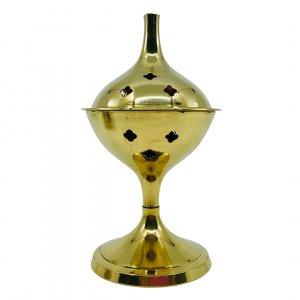 Charcoal Burner Brass on Stand Brass Crosses 13cm