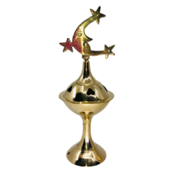 Brass Charcoal Burner on Stand Moon