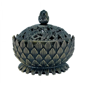Incense Charcoal Burner on Stand BRASS LOTUS with LID Small