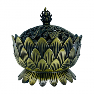 Incense Charcoal Burner on Stand BRASS LOTUS with LID Large