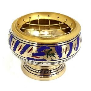 Charcoal Burner Brass on Stand BLUE ETCHED