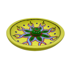 Incense Holder Clay Hand Painted Embossed Plate YELLOW