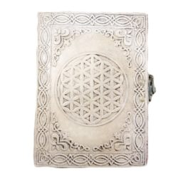 Medium Leather Journal - Antique Flower of Life