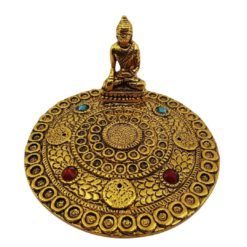 Aluminium Incense Holder ROUND GOLDEN BUDDHA with gems